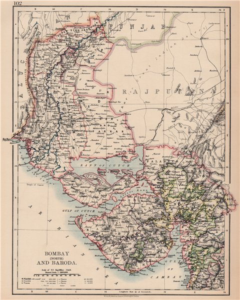 Associate Product BRITISH INDIA NW.Gurajat Sindh.Bombay(Mumbai)North.Vadodara.railways 1906 map