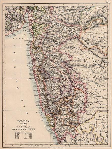 Associate Product BOMBAY(MUMBAI)(SOUTH).British India.Maharashtra.railways.JOHNSTON 1906 old map