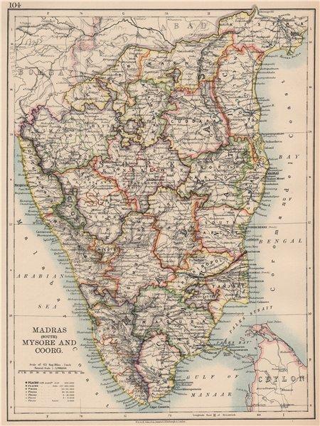 Associate Product BRITISH INDIA S. Coromandel & Malabar Coasts. Madras (Chennai) Mysore 1906 map