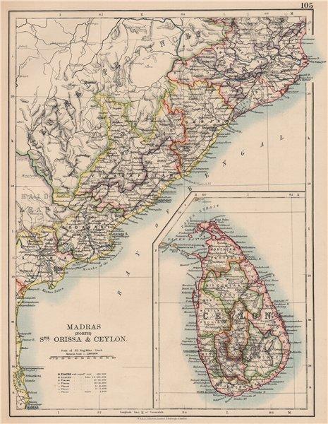 Associate Product BRITISH INDIA E. Madras (Chennai) Orissa Ceylon (Sri Lanka) . Railways 1906 map