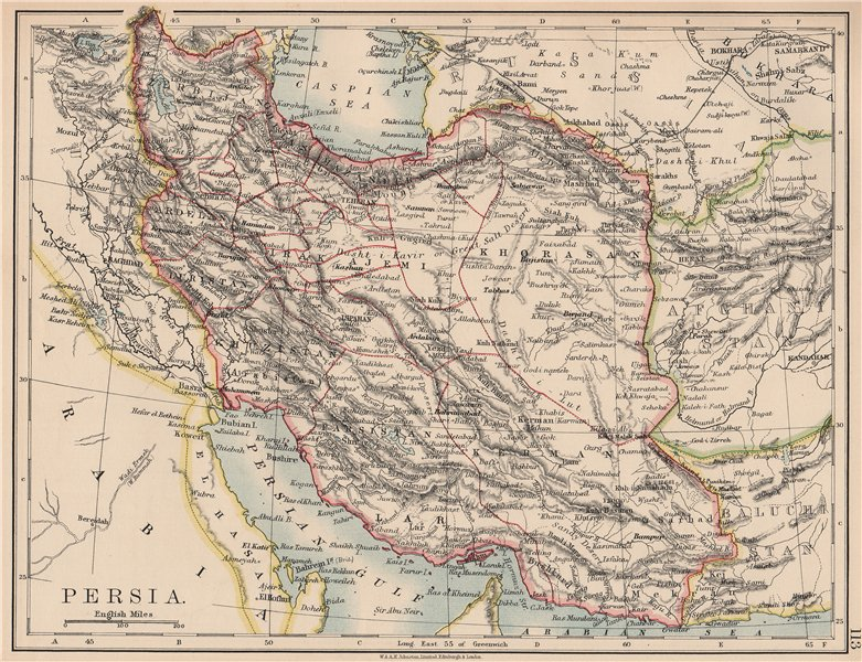 Associate Product PERSIA(IRAN).Showing provinces.Iran.Persian Gulf.Bushehr.JOHNSTON 1906 old map