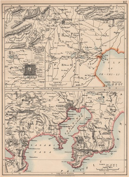 EAST ASIA. Peking Beijing and Tokyo Environs. JOHNSTON 1906 old antique map