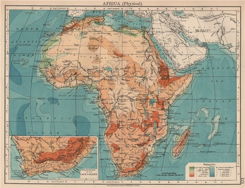Associate Product AFRICA PHYSICAL. Relief ocean depths rivers. JOHNSTON 1906 old antique map