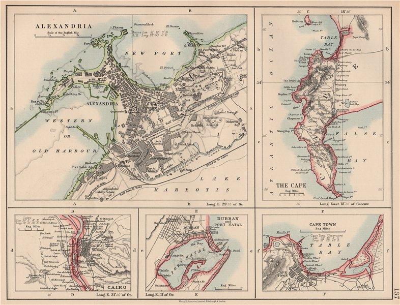 Associate Product AFRICAN PORTS.Alexandria Cape Town Cairo Port Natal(Durban).JOHNSTON 1906 map