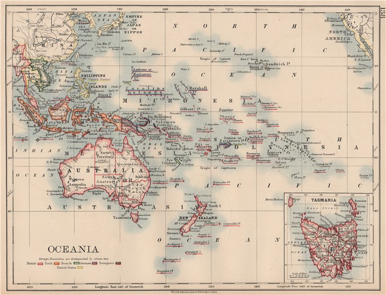 Associate Product COLONIAL OCEANIA PACIFIC.British Dutch Spanish French German Portuguese 1906 map