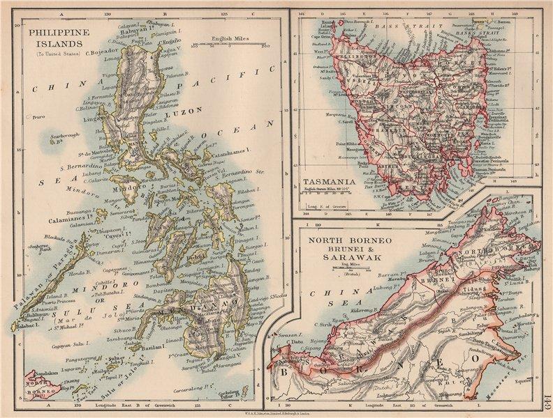 Associate Product EAST ASIA.US American Philippines.Tasmania North Borneo Brunei Sarawak 1906 map