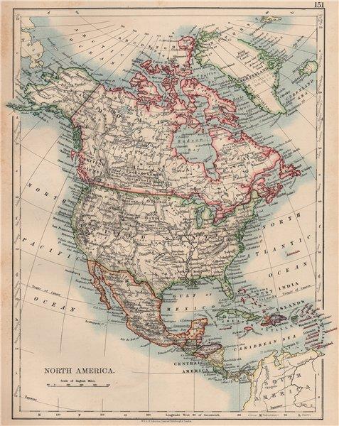 Associate Product NORTH AMERICA POLITICAL. Greenland Danish America USA Canada Mexico 1906 map