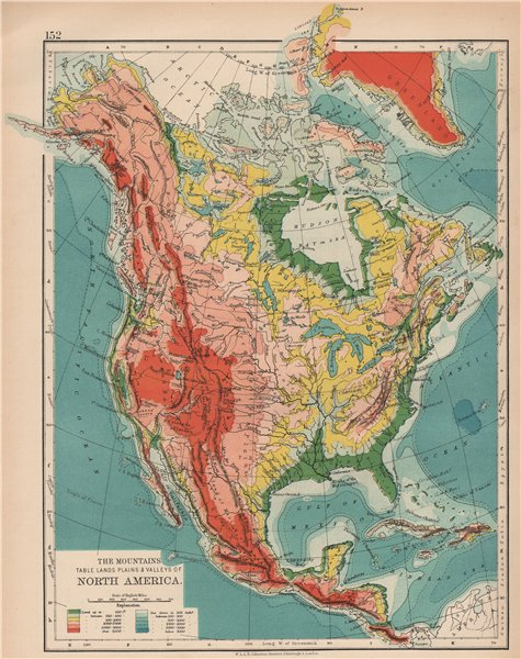 Associate Product NORTH AMERICA RELIEF. Mountains Table Lands Plains Valleys. JOHNSTON 1906 map