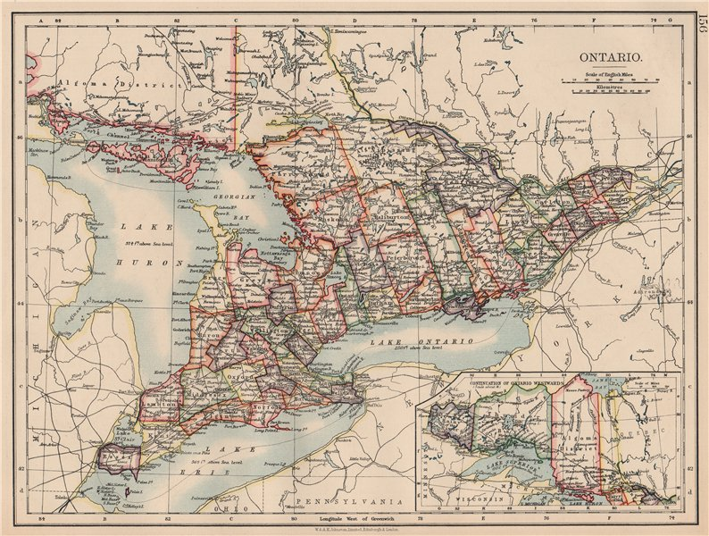 Associate Product ONTARIO. Showing counties. British North America. Canada. JOHNSTON 1906 map