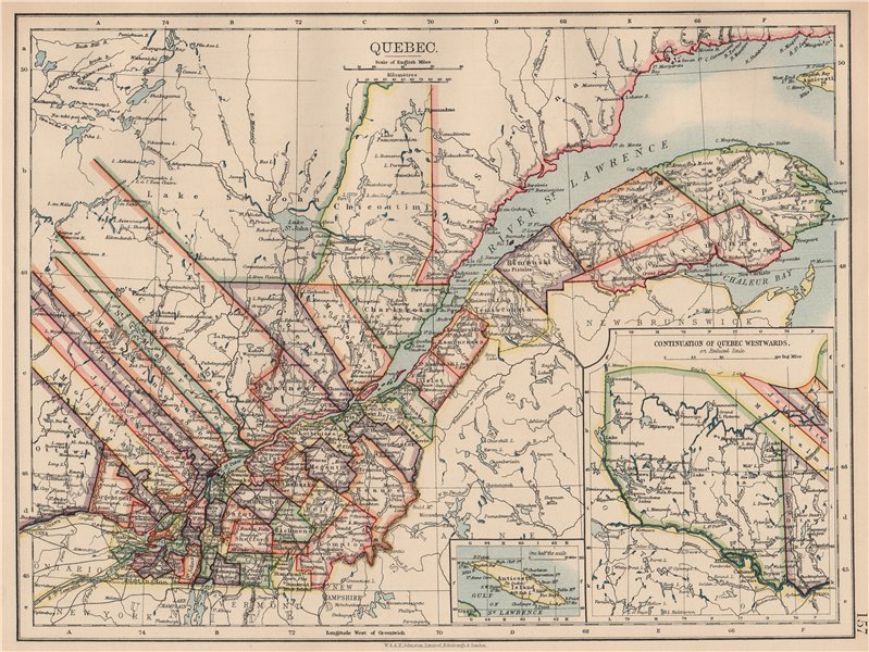 Associate Product QUEBEC QUÉBEC. Showing counties. Canada. St Lawrence. JOHNSTON 1906 old map