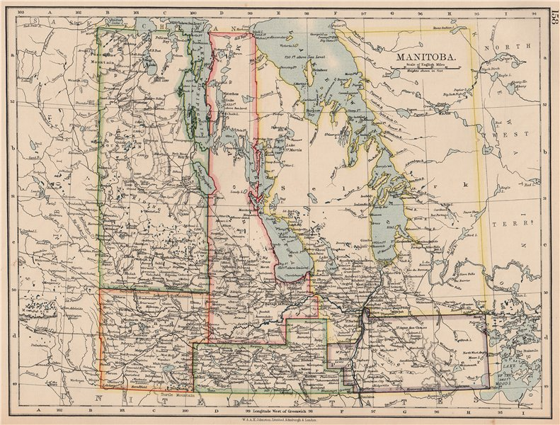 """Associate Product MANITOBA. Pre northward expansion. """"postage stamp province"""". Railroads 1906 map"""