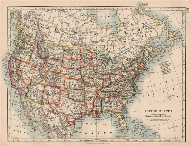 Details about USA. United States showing states and railroads. JOHNSTON  1906 old antique map