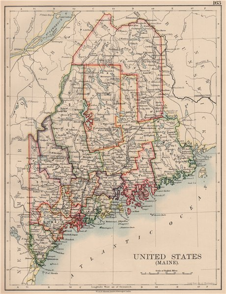 Details about MAINE. State map showing counties & railroads. JOHNSTON 1906  old antique