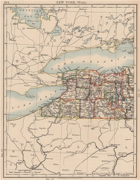 Associate Product NEW YORK STATE WEST. Map showing counties & railroads. Niagara. JOHNSTON 1906