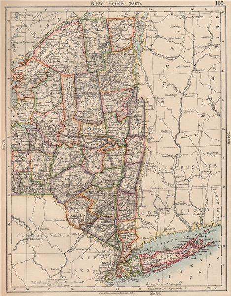 Associate Product NEW YORK STATE EAST. with counties railroads. NYC Long Island. JOHNSTON 1906 map