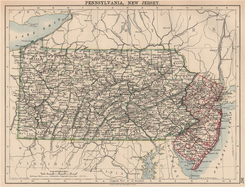 Associate Product US MID ATLANTIC STATES. Pennsylvania & New Jersey. Counties railroads 1906 map