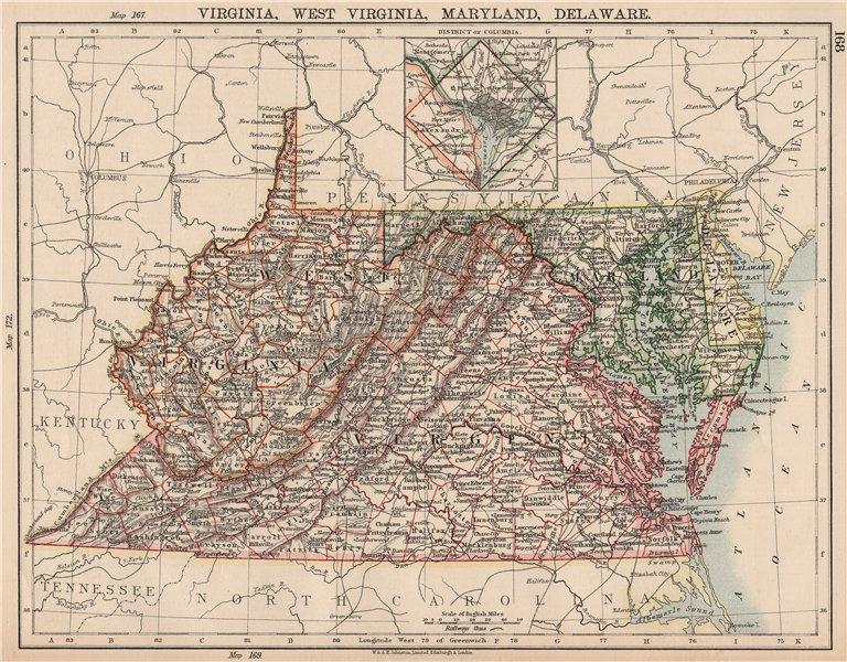 Associate Product US MID ATLANTIC STATES.VA West Virginia Maryland Delaware Washington DC 1906 map