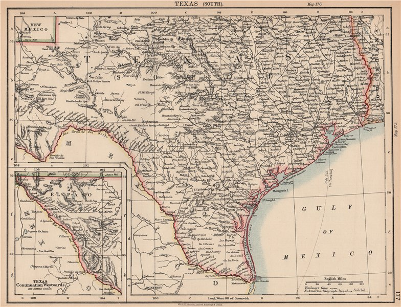 Old Map Of Texas.Details About South Texas Showing Railroads Telegraph Cable Johnston 1906 Old Map