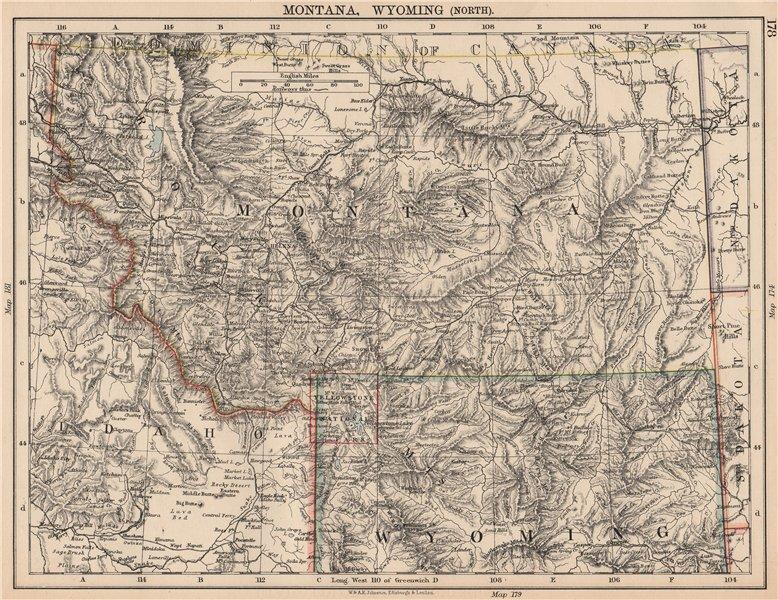 Associate Product USA MOUNTAIN STATES. Montana North Wyoming Idaho East Yellowstone 1906 old map