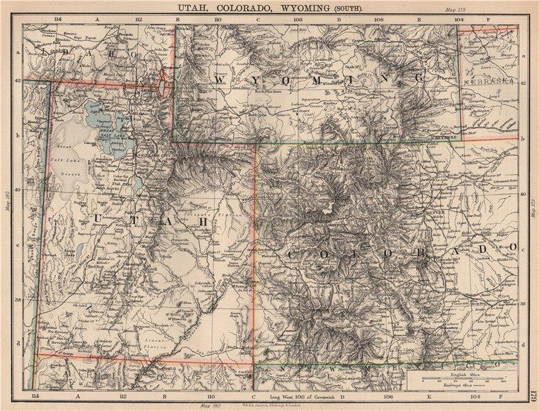 Details about USA MOUNTAIN STATES.Utah,Colorado & South  Wyoming.Railroads.JOHNSTON 1906 map