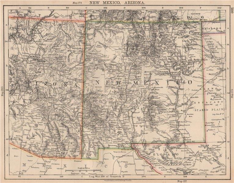 Details about USA MOUNTAIN STATES. New Mexico & Arizona. Railroads.  JOHNSTON 1906 old map
