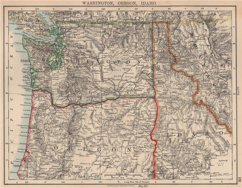 Associate Product USA PACIFIC NORTHWEST.Washington State Oregon Idaho.Railroads.JOHNSTON 1906 map