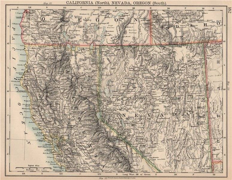 Details about USA WEST/PACIFIC. Northern California & Nevada; South Oregon.  Railroads 1906 map