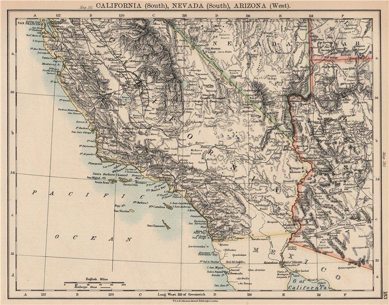 SOUTHERN CALIFORNIA. US Pacific. Nevada South, Arizona West. Railroads 1906 map
