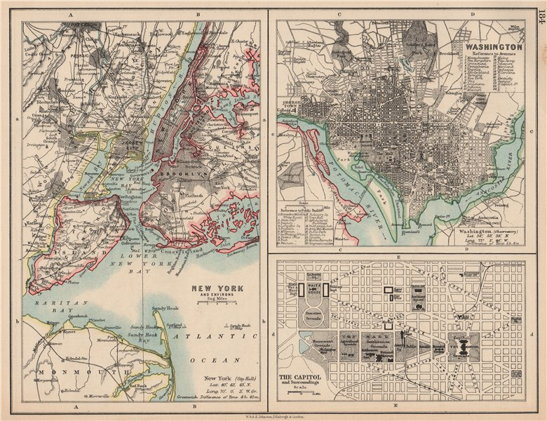 Associate Product USA CITIES. New York City. Washington DC. The Capitol. JOHNSTON 1906 old map