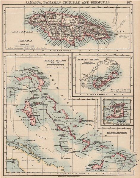 Associate Product CARIBBEAN/ATLANTIC ISLANDS. Jamaica Bermuda Bahamas Trinidad. JOHNSTON 1906 map