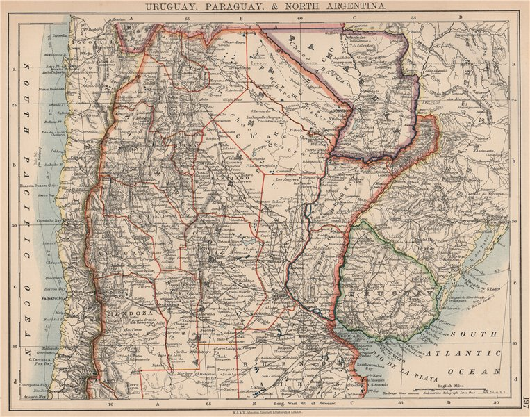Associate Product URUGUAY PARAGUAY NORTH ARGENTINA.Pre-Chaco War borders.Chile.JOHNSTON 1906 map