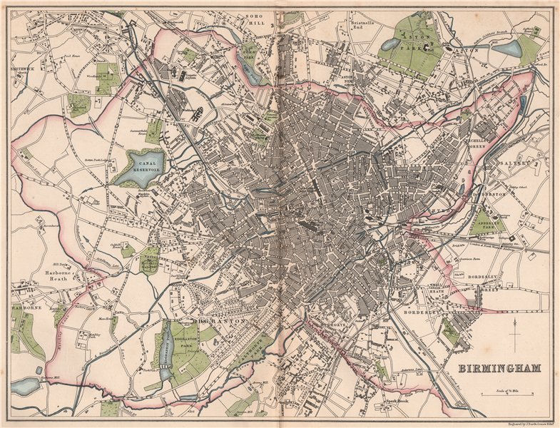 Associate Product BIRMINGHAM. Antique town city plan. BARTHOLOMEW 1865 old map chart