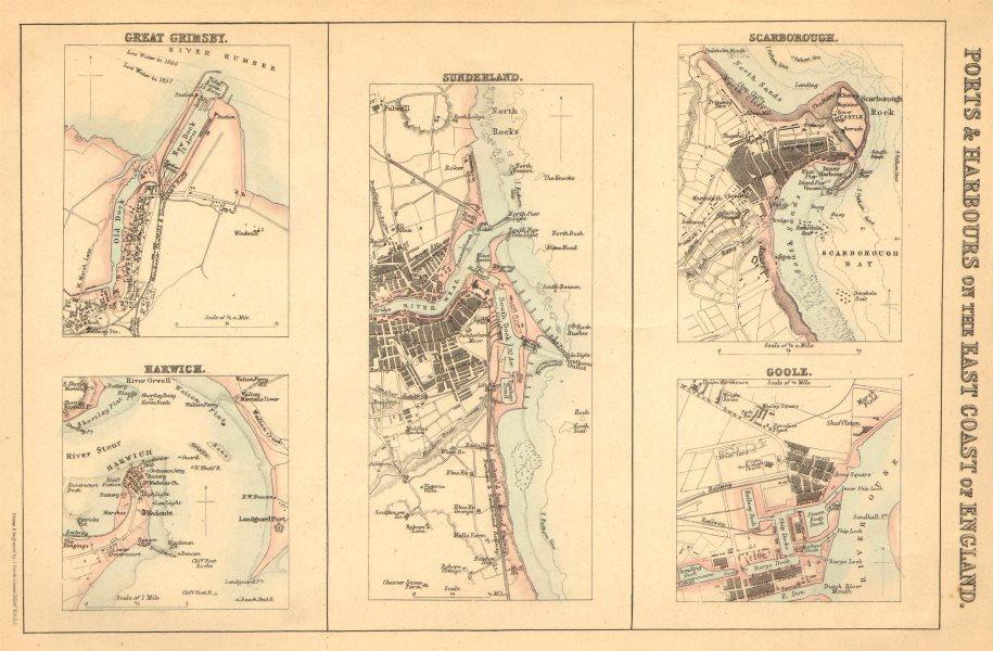 Associate Product ENGLAND EAST COAST PORTS. Grimsby Harwich Sunderland Scarborough Goole 1865 map