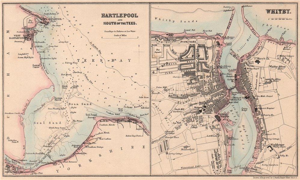 NE ENGLAND PORTS.Whitby.Hartlepool Teesmouth Middlesbrough.BARTHOLOMEW 1865 map