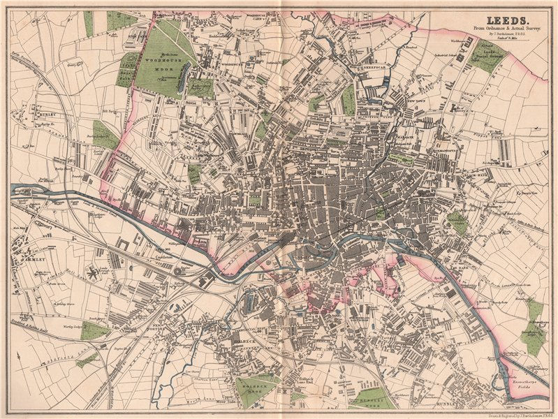 Associate Product LEEDS. Antique town city plan. Yorkshire. BARTHOLOMEW 1865 old map
