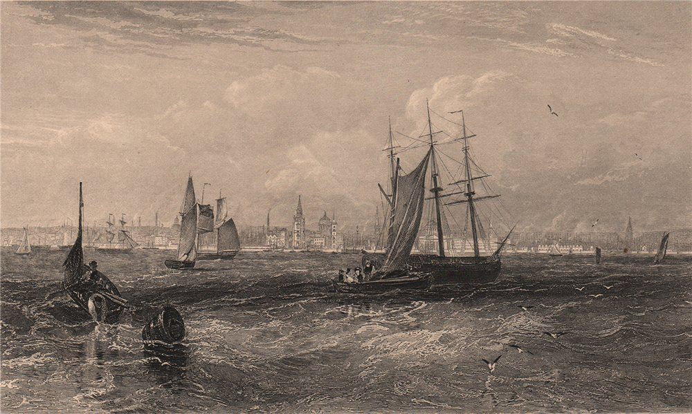 LIVERPOOL. View of the city from the Mersey. Sailing ships. FULLARTON 1865