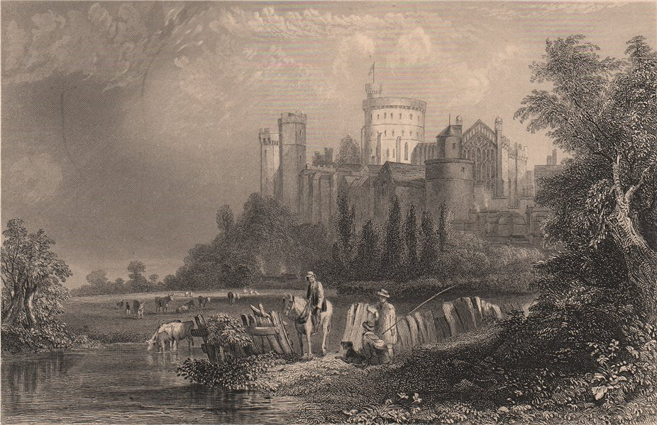 Associate Product WINDSOR CASTLE. view from the West. Thames. Berkshire. FULLARTON 1865 print