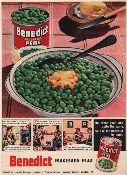 Associate Product FOOD ADVERT. United Canners Ltd. Benedict Processed peas 1951 old print