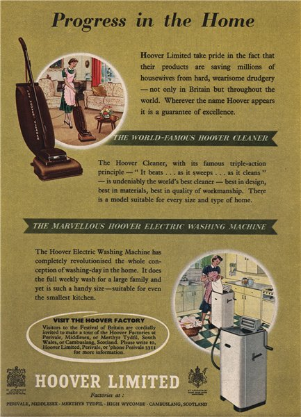 Associate Product HOOVER ADVERT. Vacuum cleaner. washing machine. Domestic appliances 1951 print