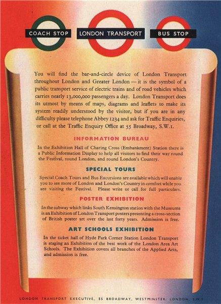 Associate Product LONDON TRANSPORT ADVERT. London Transport Executive 1951 old vintage print