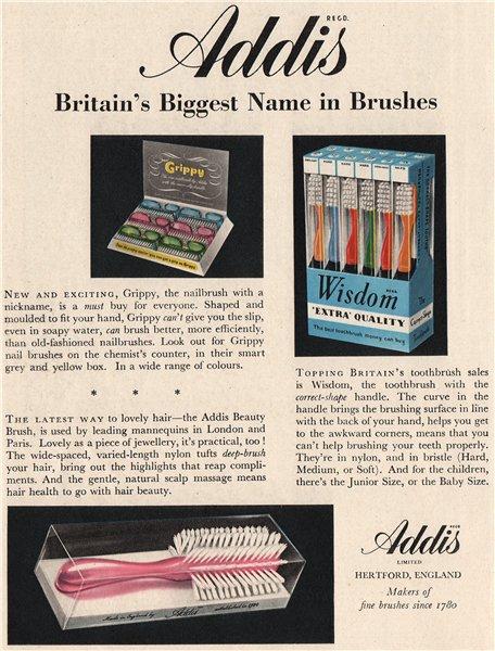 Associate Product ADDIS ADVERT. Addis Ltd. Toothbrushes hairbrushes nailbrushes. Pharmacy 1951