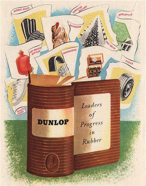 Associate Product DUNLOP ADVERT. Dunlop Rubber Co. Ltd. Tyres boots shoes golf balls 1951 print