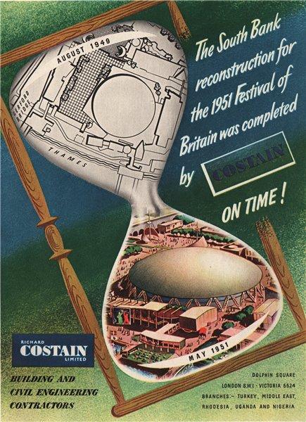 Associate Product COSTAIN ADVERT. Richard Costain Ltd. Festival of Britain. Construction 1951