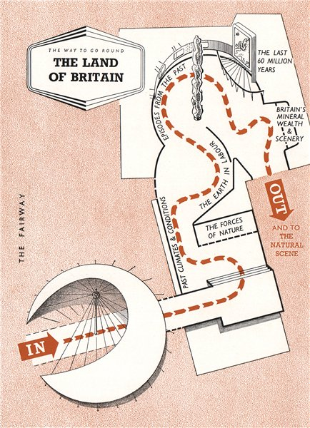 Associate Product FESTIVAL OF BRITAIN. The Land of Britain exhibit. Tour plan 1951 old map