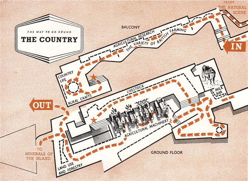Associate Product FESTIVAL OF BRITAIN. The Country exhibit. Tour plan 1951 old vintage map chart