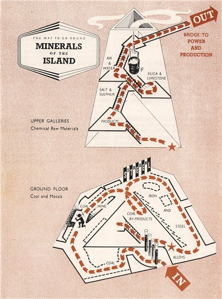 Associate Product FESTIVAL OF BRITAIN. Minerals of the Island exhibit. Tour plan 1951 old map