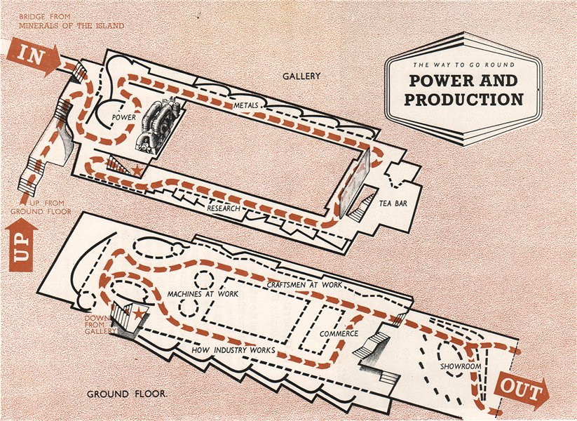 Associate Product FESTIVAL OF BRITAIN. Power and Production exhibit. Tour plan 1951 old map