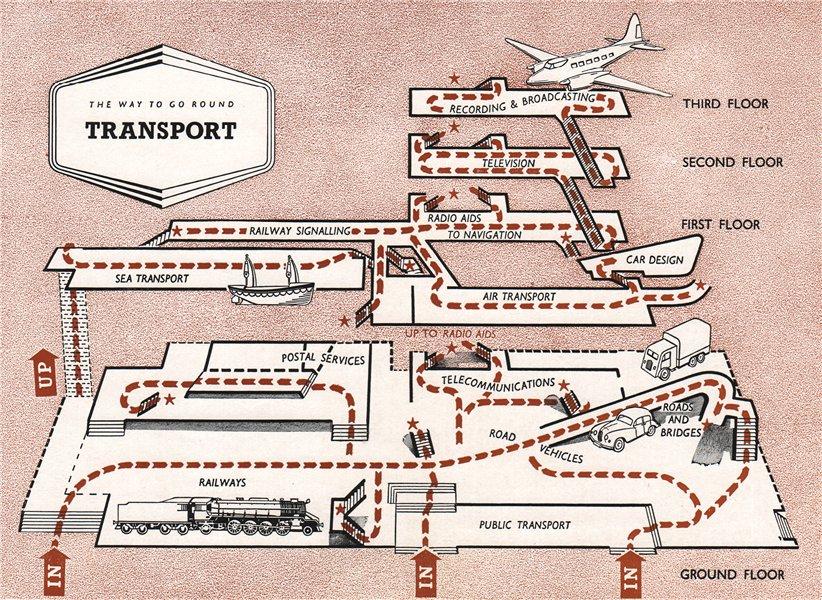 Associate Product FESTIVAL OF BRITAIN. Transport exhibit. Tour plan 1951 old vintage map chart