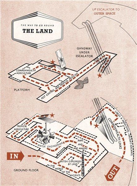 Associate Product FESTIVAL OF BRITAIN. The Land exhibit. Tour plan 1951 old vintage map chart