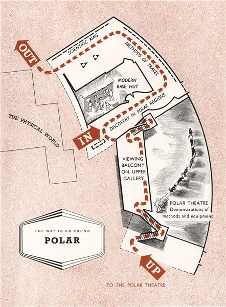 Associate Product FESTIVAL OF BRITAIN. Polar exhibit. Tour plan 1951 old vintage map chart
